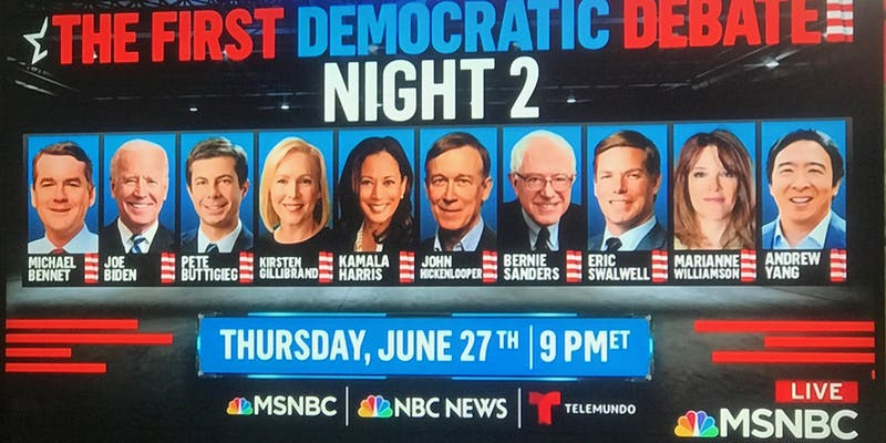 2019 Democratic Debate Night 2 Lineup Graphic
