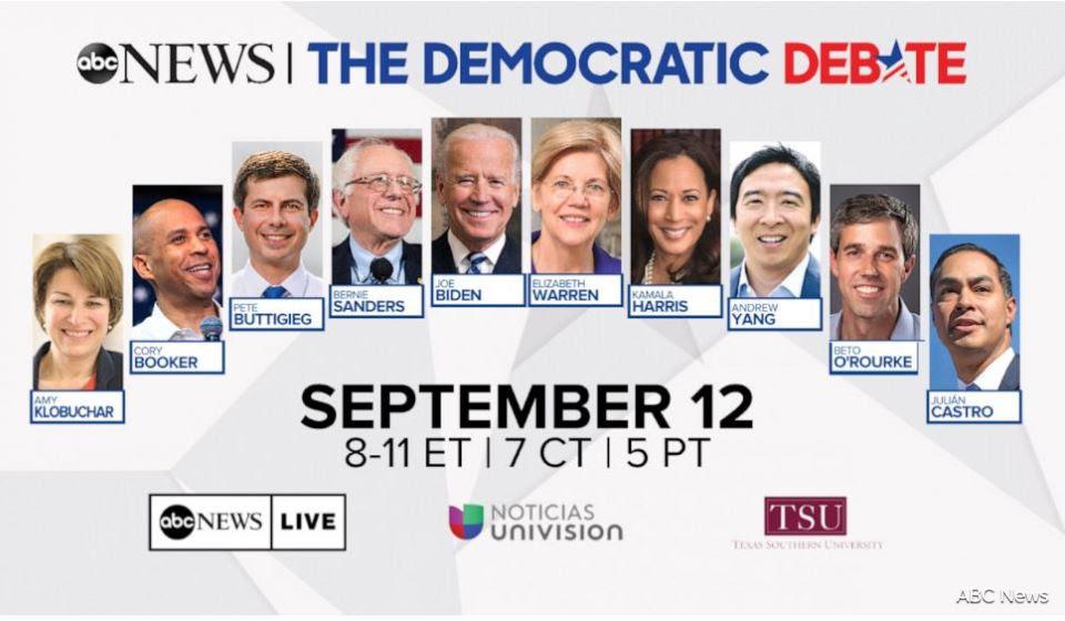 2019 Third Democratic Debate Lineup Graphic
